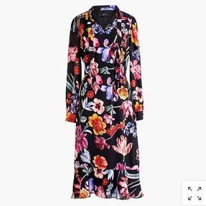 J. Crew Tie Neck Midi Dress Dutch Midnight Floral